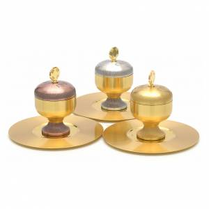 Oli santi: vasetti ottone satinato con piattino s4