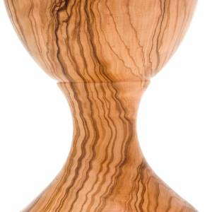 Olive wood engraved chalice with glass cup s4