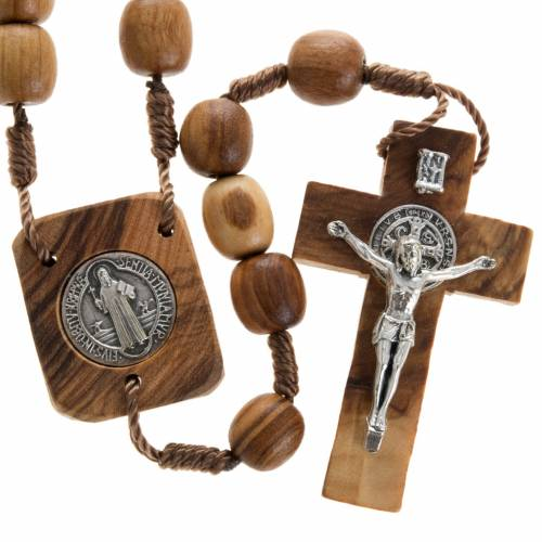Olive wood rosary with Saint Benedict medal s1