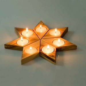 Olive wood star candle-holder s2