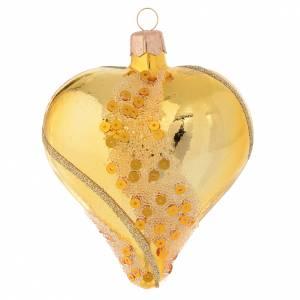 Ornement Noël coeur verre soufflé or et paillettes 100 mm s1