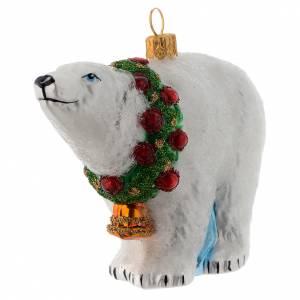 Adornos de vidrio soplado para Árbol de Navidad: Oso polar adorno vidrio soplado Árbol de Navidad