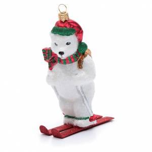 Adornos de vidrio soplado para Árbol de Navidad: Oso polar sobre esquísadorno vidrio soplado para Árbol de Navidad