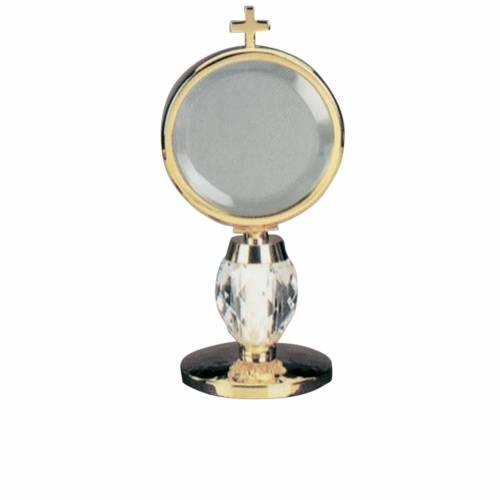 Ostensoir de chapelle laiton base en cristal, diam 8.5 cm s1
