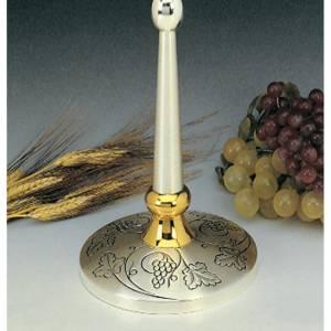 Ostensorio latón plateado y dorado con uva en la base s3