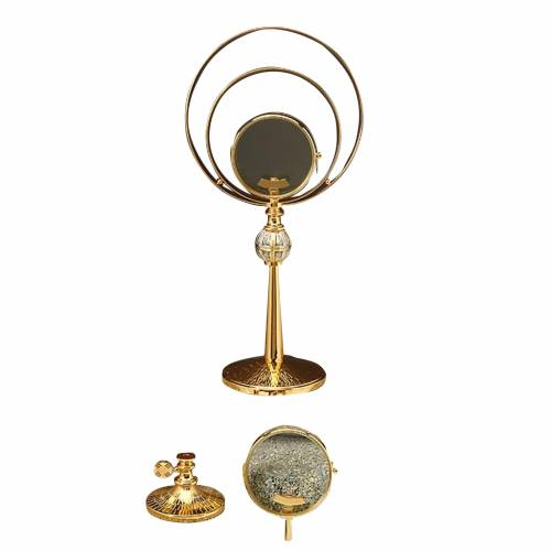 Ostensorio sacro in ottone dorato cesellato e argento 1