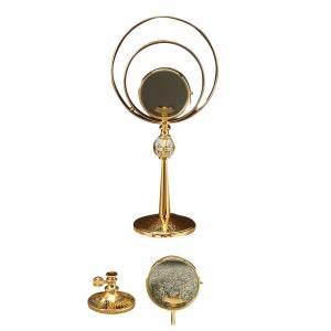 Ostensorio sagrado latón dorado cincelado y plata s1