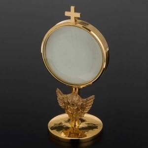 Ostensorio  teca de latón y angel diámetro 8,5 cm s5