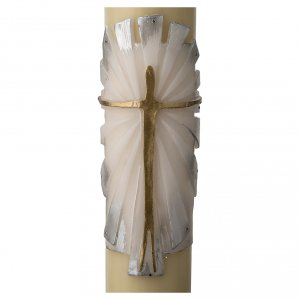 Kerzen: Osterkerze Bienenwachs mit EINLAGE auferstandenen Christus 8x120cm weiss