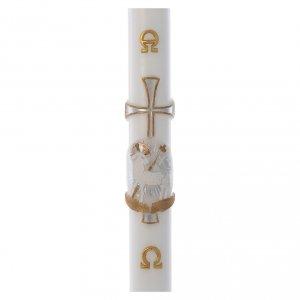 Kerzen: Osterkerze Lamm und Kreuz weiss 8x120cm