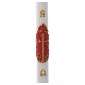 Kerzen: Osterkerze Wachs alten Kreuz rot und gold 8x120cm
