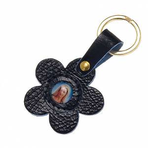 Our Lady of Medjugorje leather key ring, flower s1