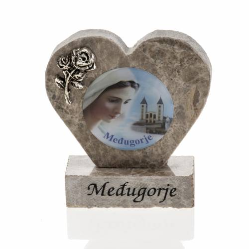 Our Lady of Medjugorje marble heart s1