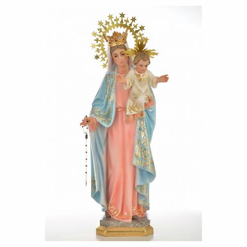 Our Lady of the Rosary 50cm in wood paste, superior decoration s5