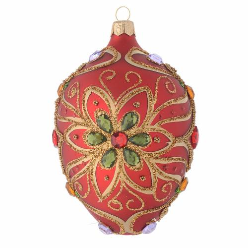 Oval bauble in red blown glass with green flower 130mm s1