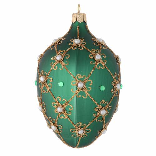 Oval Christmas bauble in green and gold blown glass 130mm s2