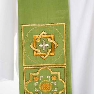 Overlay stole in shantung, golden embroidery s5