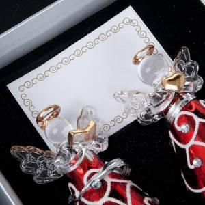 Dekoracje bożonarodzeniowe do domu: Ozdoba bożonarodzeniowa Anioły szklane ubrania czerwone 4 sztuki