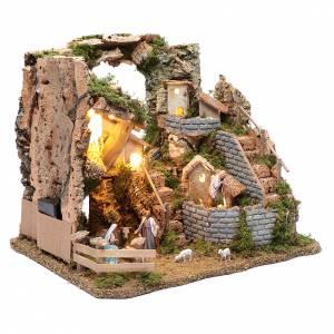 Paesaggio roccioso con borgo e luci 30x40x30 cm s3