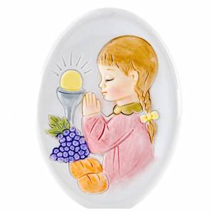 Bonbonnière: Painting Girl First Communion oval shaped 8cm