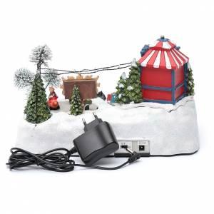 Paisaje de Navidad con parque en movimiento música y luces led 20x25x15 cm s5