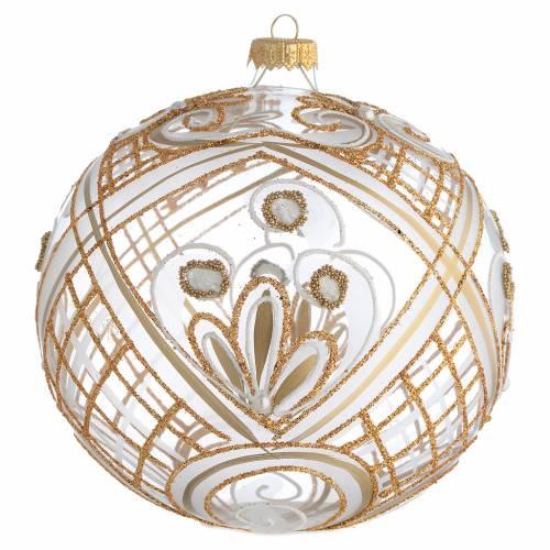 Palla addobbo Natale trasparente oro 150 mm s1