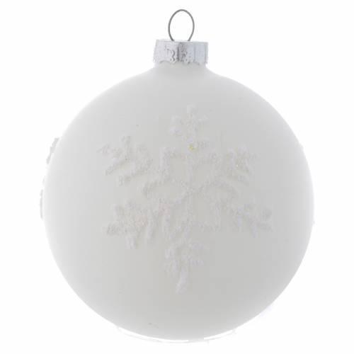 Palla Albero Natale 80 mm vetro bianco sfumato s3