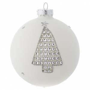 Palline di Natale: Palla Albero Natale 90 mm vetro bianco strass