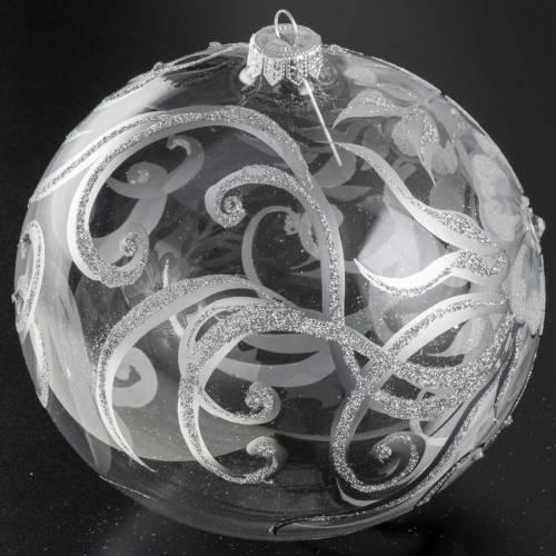 Palla albero Natale vetro trasparente bianco 15 cm s2