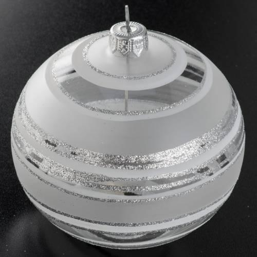 Palla albero Natale vetro trasparente bianco rigata 10 cm s2