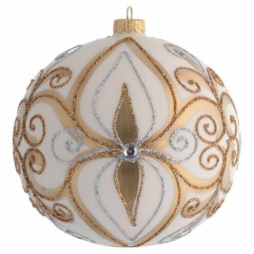 Palla Albero vetro soffiato oro argento avorio 150 mm 1