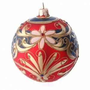 Palline di Natale: Palla in vetro decorato motivi floreali rosso blu oro 100 mm