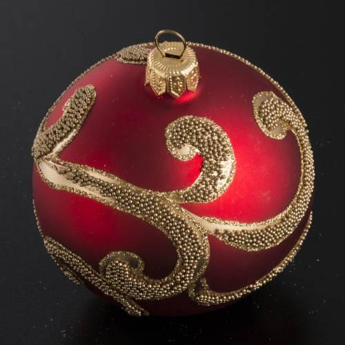 Palla Natale per albero vetro rosso oro 8 cm s2