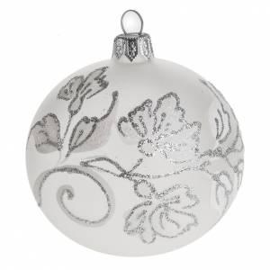 Palline di Natale: Palla Natale per albero vetro soffiato argento bianco 8 cm