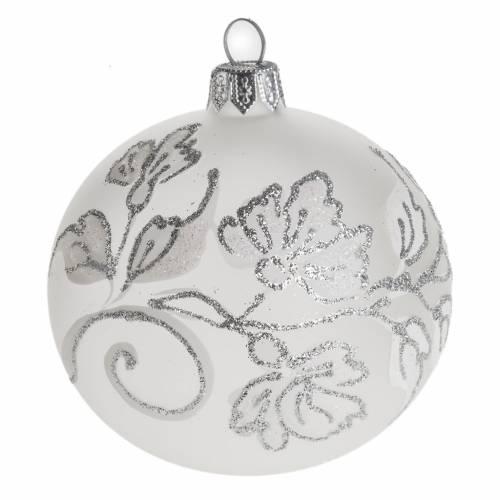 Palla Natale per albero vetro soffiato argento bianco 8 cm s1