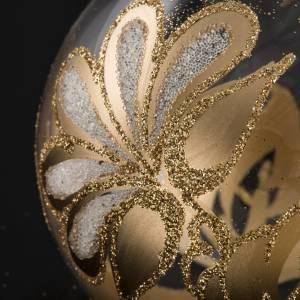 Palla Natale per albero vetro trasparente oro 8 cm s3