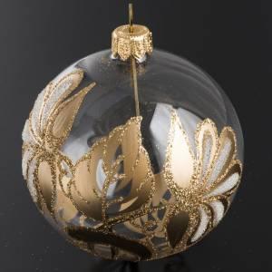 Palla Natale per albero vetro trasparente oro 8 cm s2