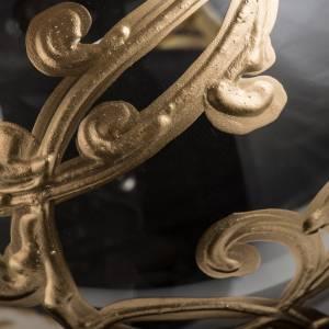 Palla Natale vetro soffiato trasparente con decori 15 cm s3