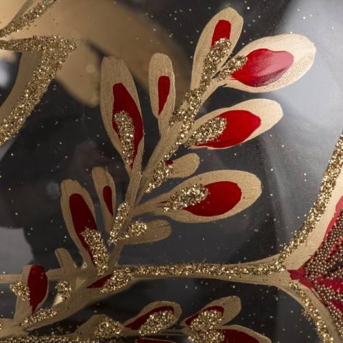 Palla Natale vetro soffiato trasparente fiore rosso oro 15 cm s3