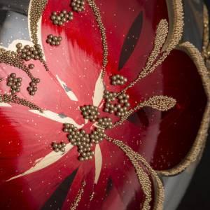 Palla Natale vetro soffiato trasparente fiori rossi oro 15 cm s3