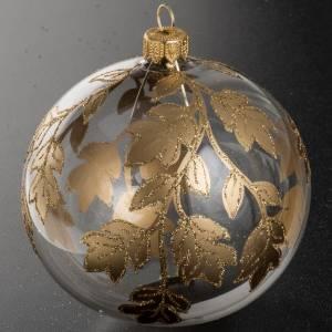 Palla Natale vetro trasparente decorazioni oro 10 cm s2