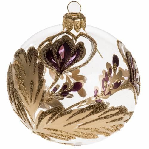 Palla Natale vetro trasparente fiore fucsia oro 8 cm s1
