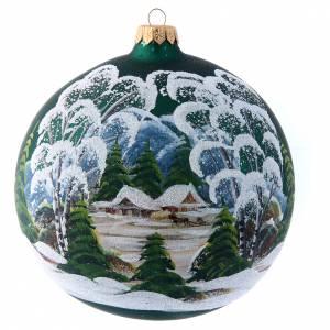 Palline di Natale: Palla Natalizia 150 mm verde decoro pittura e decoupage