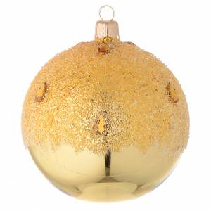 Palline di Natale: Palla oro effetto ghiaccio 100 mm