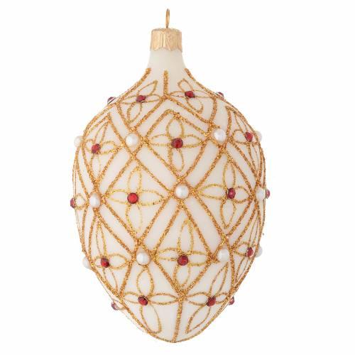Palla ovale vetro soffiato avorio decoro oro e rosso 130 mm s2