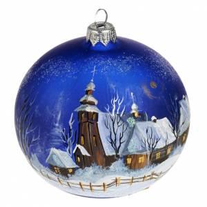 Palla per albero di Natale paesaggio notturno 10 cm s1