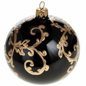 Palla per albero di Natale vetro nero oro 10 cm s1