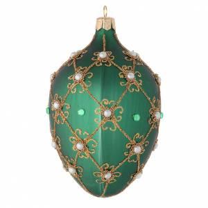 Palla uovo per Albero Natale verde e oro 130 mm s2