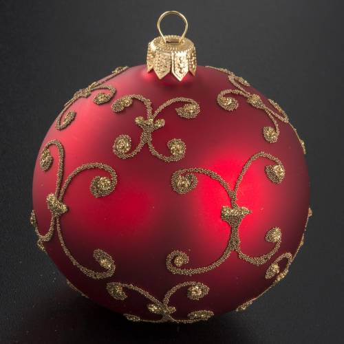 Pallina albero Natale rossa decori oro 8cm s2