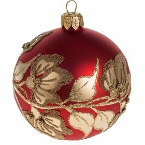 Pallina albero Natale rossa piante fiori oro 8 cm s1